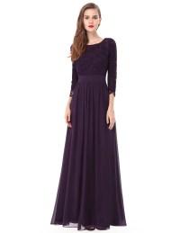 Elegant Women's Long Evening Party Dress Lace Maxi Chiffon ...