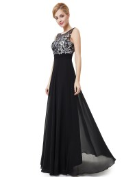 Black Applique Homecoming Prom Long Evening Party Dresses ...