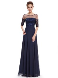 Ever-Pretty Long Evening Dress Bridesmaid Maxi Half Sleeve ...