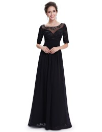 Ever-Pretty Beaded Long Evening Dress Short Sleeve Formal ...