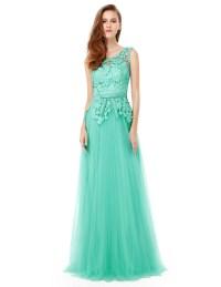 Aqua Long Bridesmaid Dress Backless Mesh Formal Evening ...