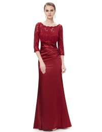 US Women 3/4 Long Sleeve Lace Long Formal Evening Dress ...