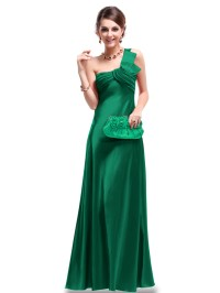 Womens Maxi Party Dress Sation Evening Prom One Shoulder ...