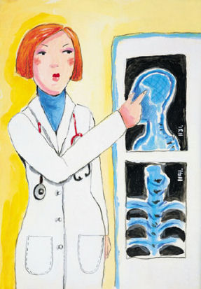 Doctor pointing at an x-ray