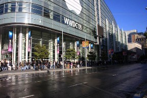 A line of idiots outside the Moscone Center