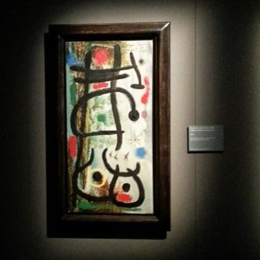 Joan Mirò - Anatre in volo, donna e stella - Olio e pittura acrilica su tela