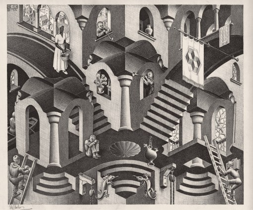 Maurits Cornelis Escher Convesso e concavo Marzo 1955 Litografia, 27,5x33,5 cm Collezione Giudiceandrea Federico All M.C. Escher works © 2016 The M.C. Escher Company. All rights reserved www.mcescher.com