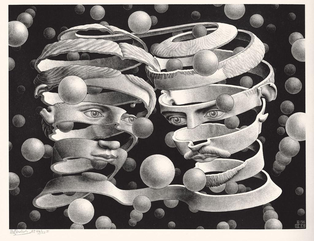 Maurits Cornelis Escher Vincolo d'unione Aprile 1956 Litografia, 25,3x33,9 cm Collezione Giudiceandrea Federico All M.C. Escher works © 2016 The M.C. Escher Company. All rights reserved www.mcescher.com