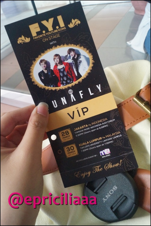 F.Y.I on stage with Lunafly, Jakarta, March 28th 2013 - VIP Pass Ticket.