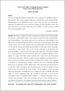 LITERATURE REVIEW The Use Of Cation Exchange Resins In