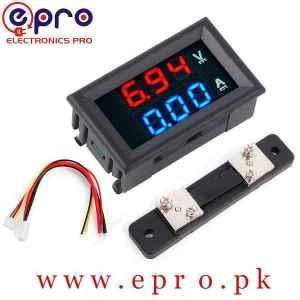 2 in 1 Digital Voltmeter Ammeter 0 to 100V 50A DC Volt Amp Meter With Shuntin Pakistan