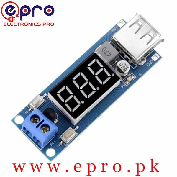 DC 4.5-40V to 5V 2A USB Charger DC-DC Step-down Buck Converter Voltmeter Module in Pakistan