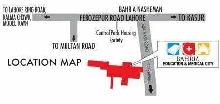 Bahria Education & Medical City Lahore Location Map