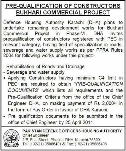 Pre Qualification of Constructors Bukhari Commercial DHA Karachi