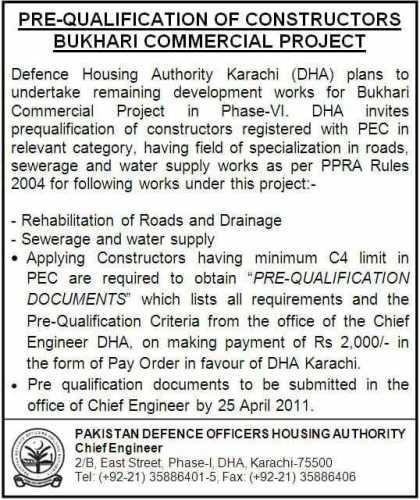 Pre Qualification of Constructors Bukhari Commercial DHA Karachi