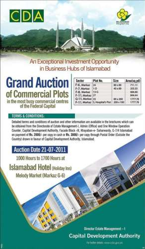 CDA Islamabad Plots Auction on 21 July 2011