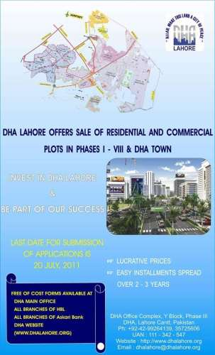 DHA Lahore Offers Residential and Commercial Plots on Installment Package