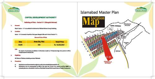 CDA Margalla Retreat Islamabad Payment Plan and Location Map