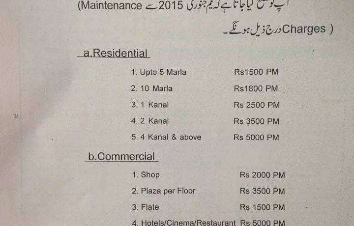 Bahria Town Lahore Maintenance Charges 2015