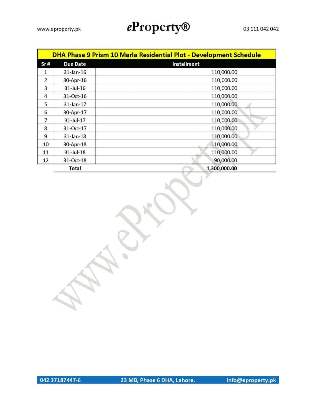 DHA Phase 9 Prism 10 Marla Plot Development Schedule