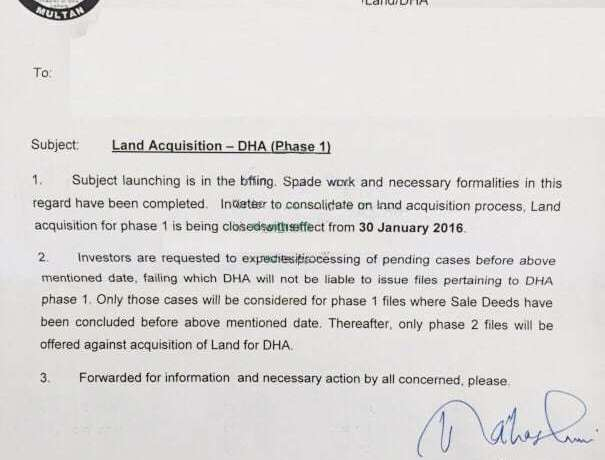 Land Acquisition DHA Multan Phase 1 being closed 30 January, 2016