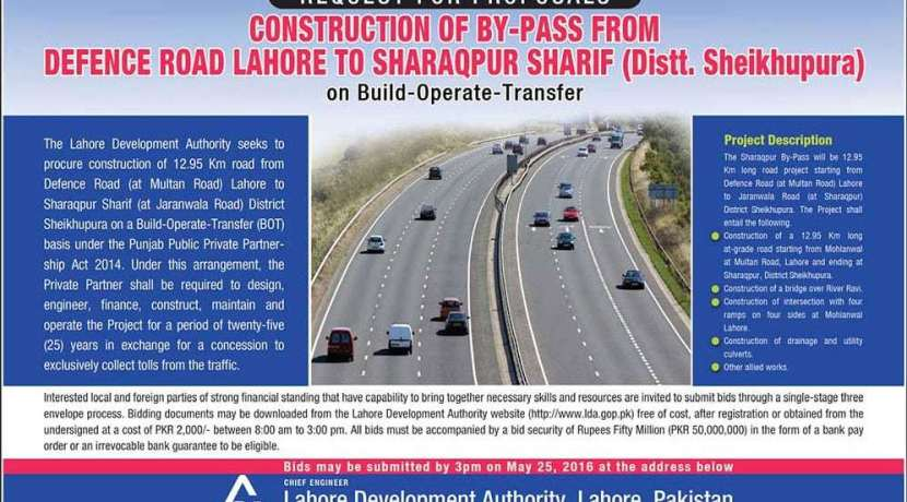 Construction of By-Pass from Defence Road Lahore to Sharaqpur Sharif