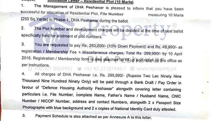 DHA Peshawar Intimation letter