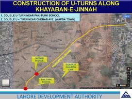 Construction of U Turn Along Khayaban e Jinnah
