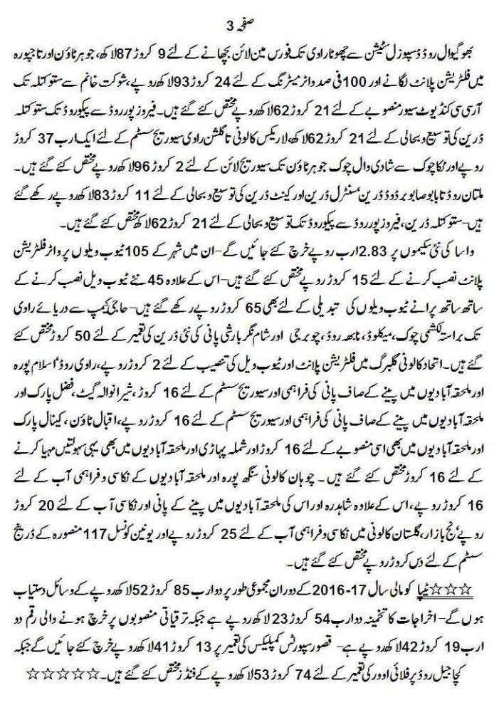 Lahore Development Authority Budget 2016-2017