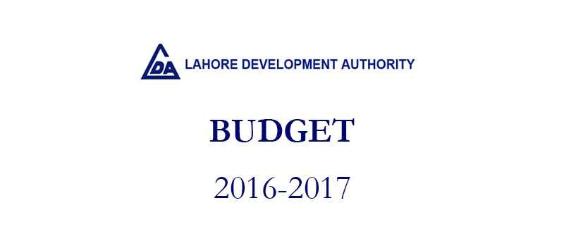 Lahore Development Authority Budget 2016-2017