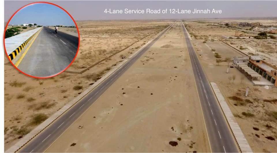 4-Lane Service Road of 12-Lane Jinnah Avenue Gwadar