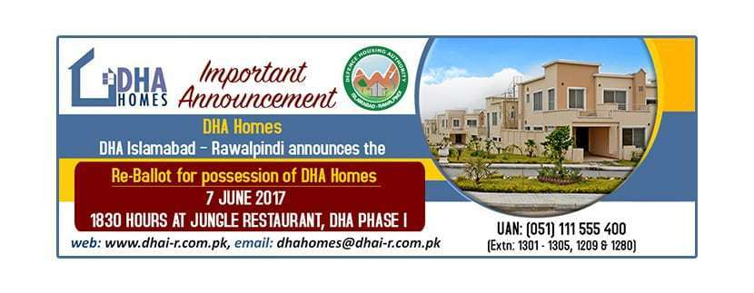 DHA Islamabad announced Re-Ballot for possession of DHA Homes