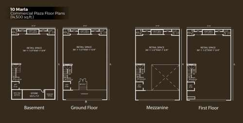 Defence Raya Fairways Commercial Center 10 Marla Commercial Floor Plan