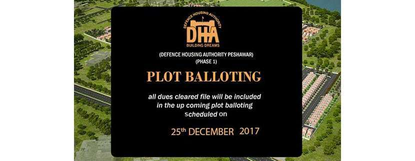 DHA Peshawar Plot Balloting on 25th December, 2017