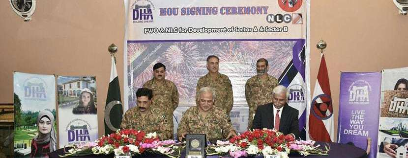 DHA Peshawar sign MoU with FWO and NLC for Sector A and B Development