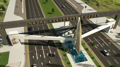 Naval Anchorage Gwadar Main Gate Render Day View