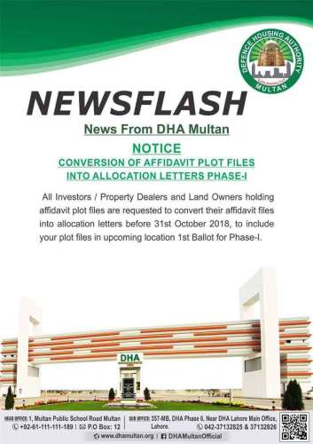 DHA Multan conversion of affidavit files into allocation