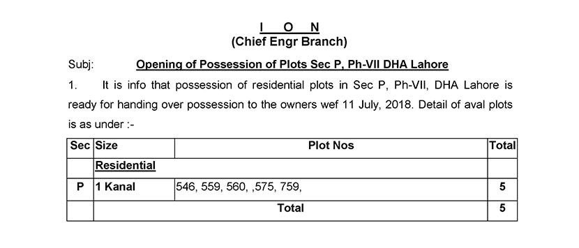 Possession Open for Phase 7 DHA Lahore Sector P