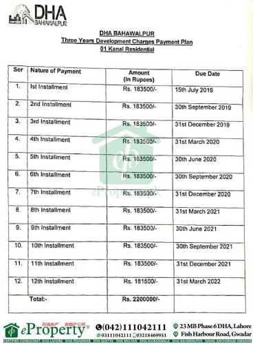 DHA Bahawalpur 1 Kanal Development Charges Schedule