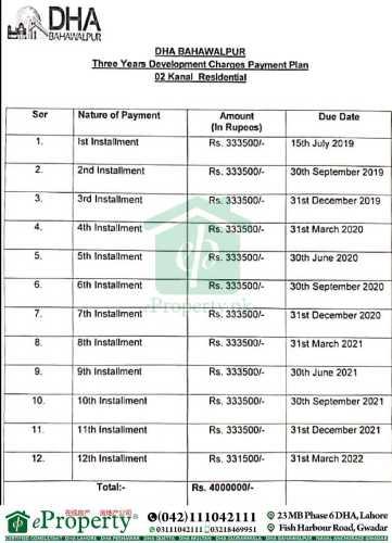 DHA Bahawalpur 2 Kanal Development Charges Schedule