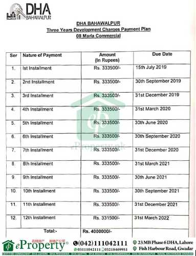 DHA Bahawalpur 8 Marla Commercial Development Charges Schedule