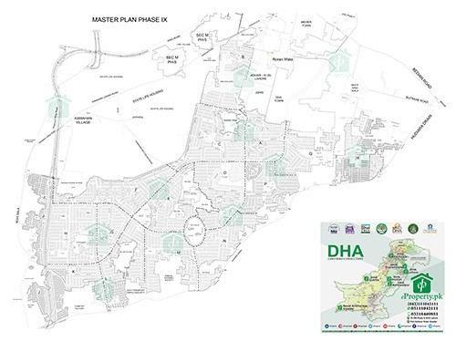 DHA Lahore Phase 9 Map