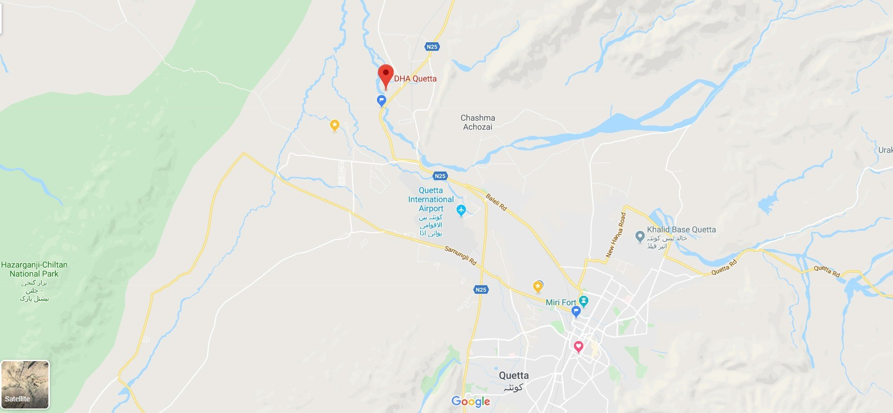 DHA Quetta Location Map