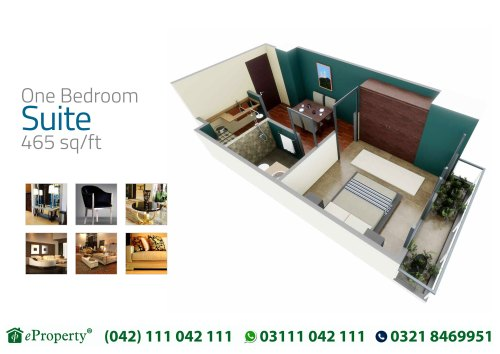 Downtown Mall and Residences 1 Bedroom Suite Layout Plan