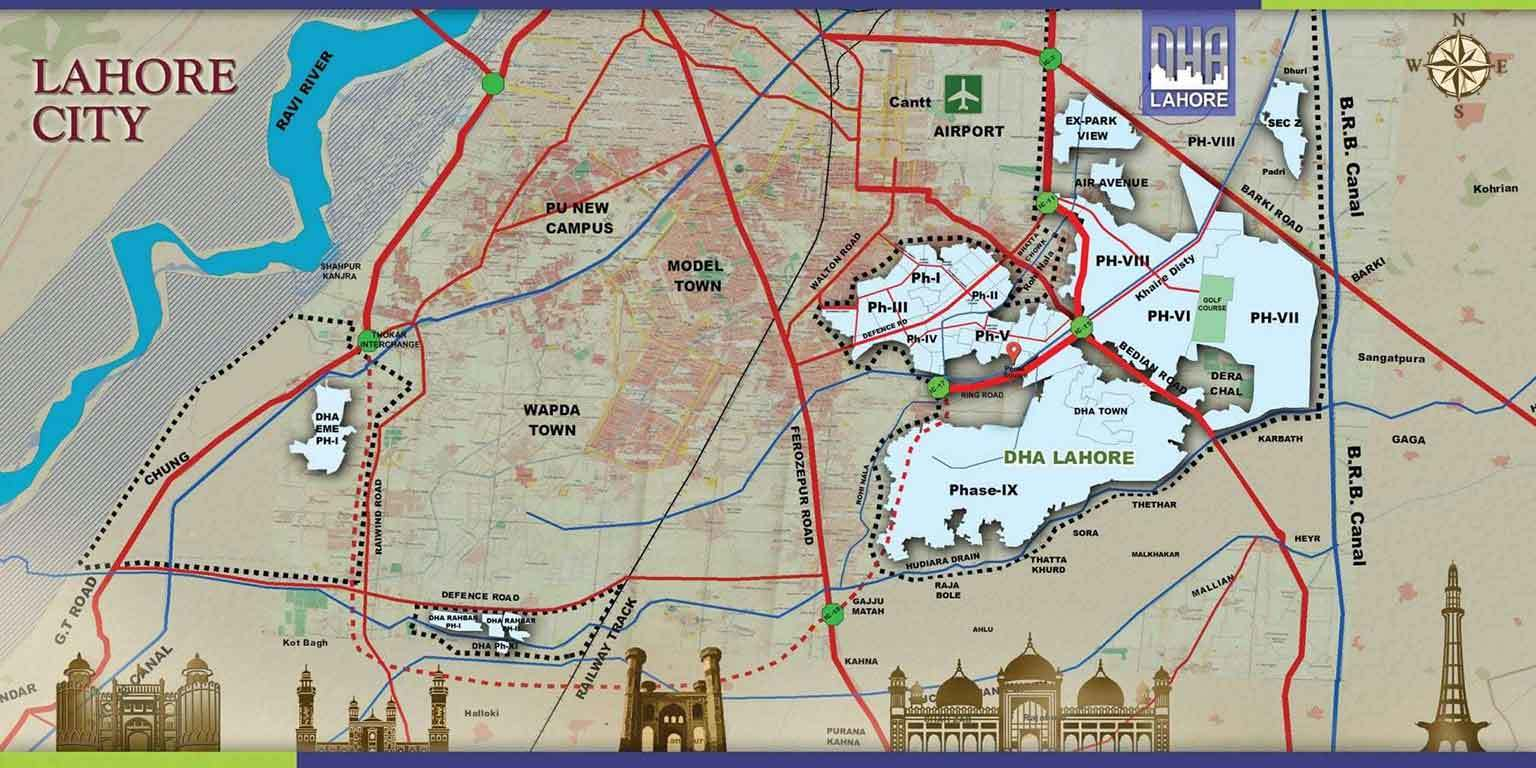 DHA Lahore all Phases Location Map