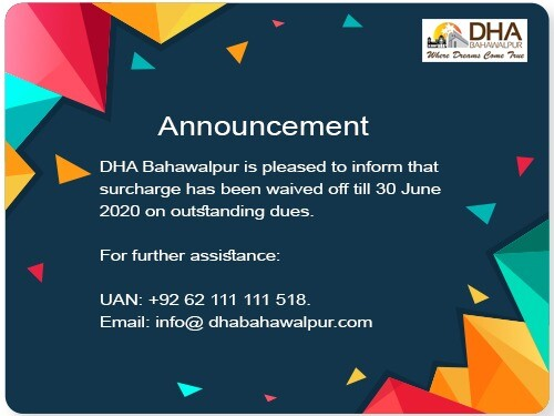 DHA Bahawalpur surcharge wave off policy June 2020