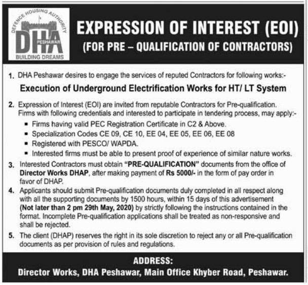 DHA Peshawar to Underground Electrification Works for HT LT System