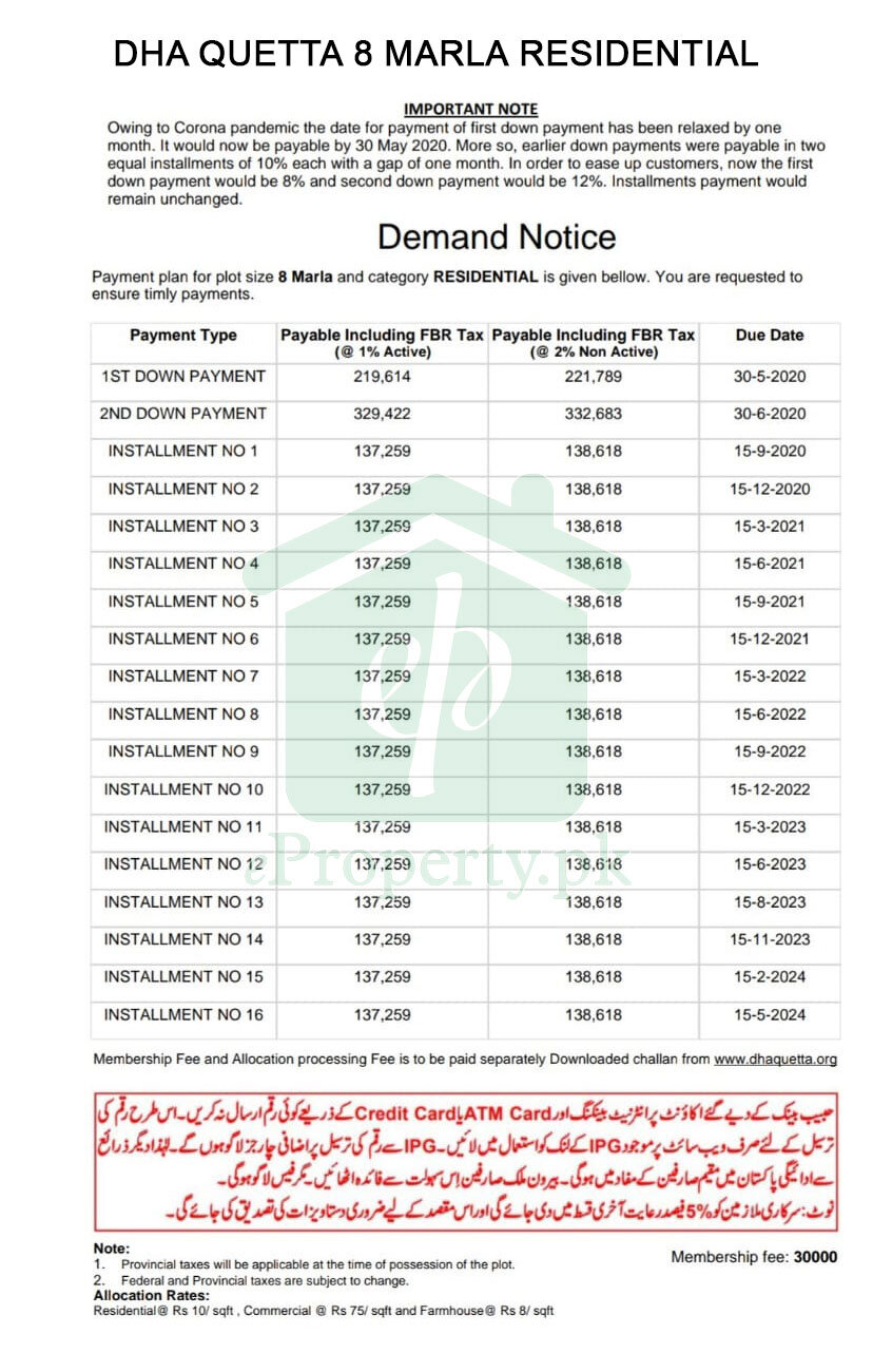 DHA Quetta 8 Marla Residential Payment Schedule