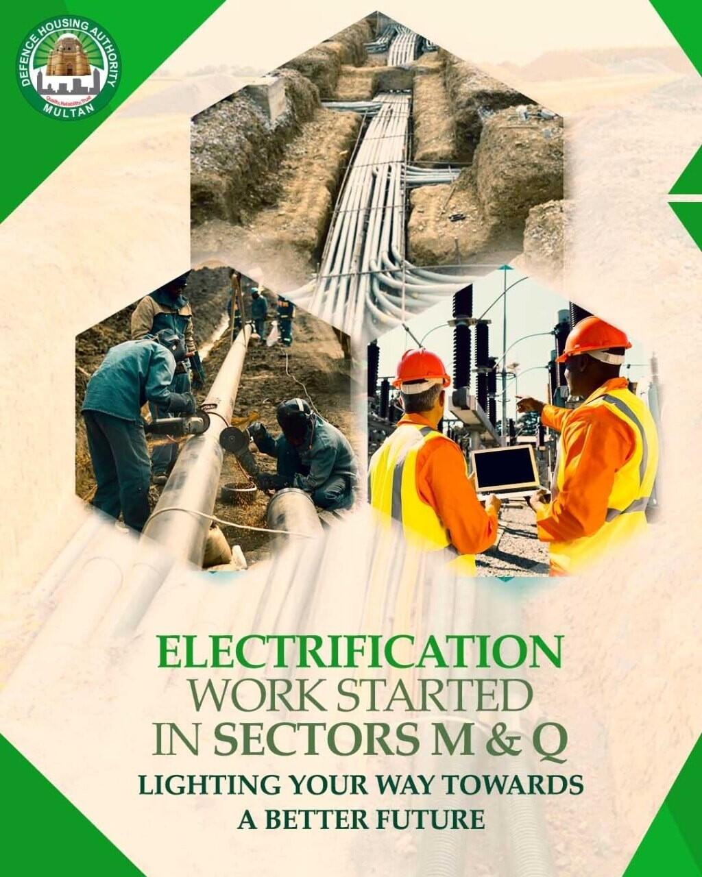 Electrification work started in Sector M & Q DHA Multan