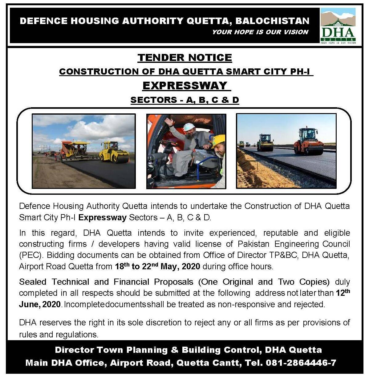 Tender for Construction of DHA Quetta Smart City Ph-I Expressway Sector A B C D
